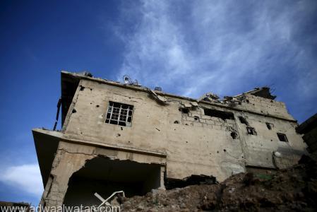مبنى مدمر في حي جوبر بدمشق يوم 23 مارس آذار 2016. تصوير: بسام خابيه - رويترز