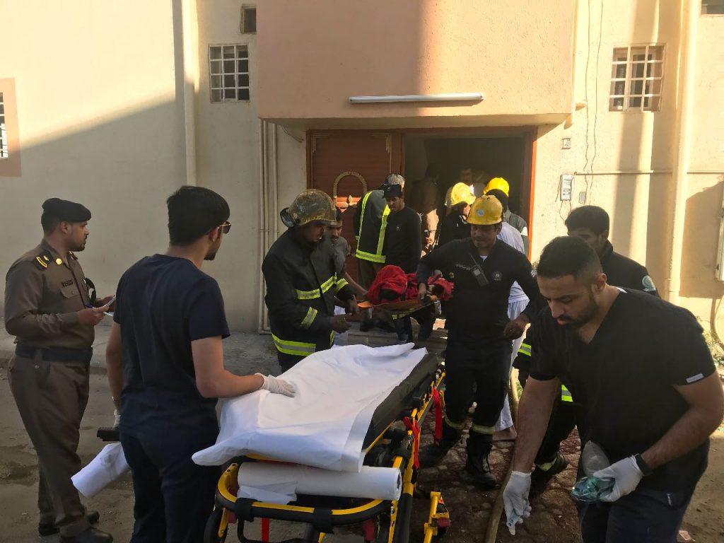 """إصابة 7 أشخاص  بينهم أطفال وسيدات إثر حريق  في """"الطائف"""""""