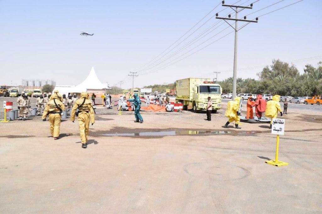"""""""مدني الرياض"""" ينفذ خطة فرضية لحريق بأحد المصانع"""
