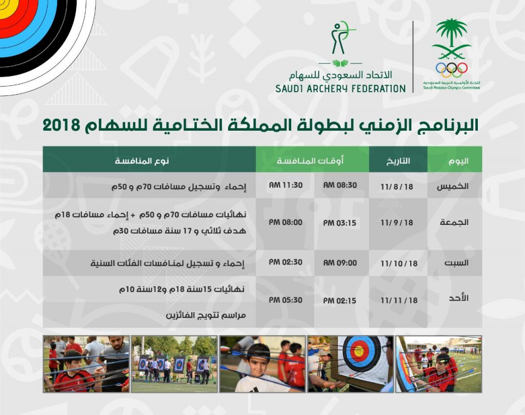 انطلاق بطولة المملكة الختامية للسهام 2018 بمشاركة 65 رامياً