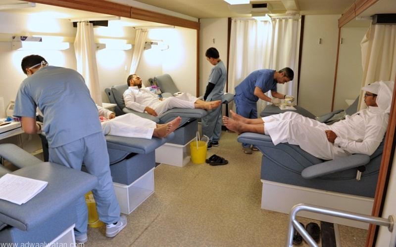 جانب من العيادة المخصصة للتبرع بالدم